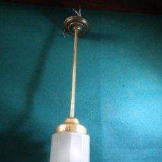 Vintage: LAMPARA DECO VINTAGE. TULIPA CRISTAL ESMERILADO CILINDRICO. FUNCIONAMIENTO.. Lote 83734976