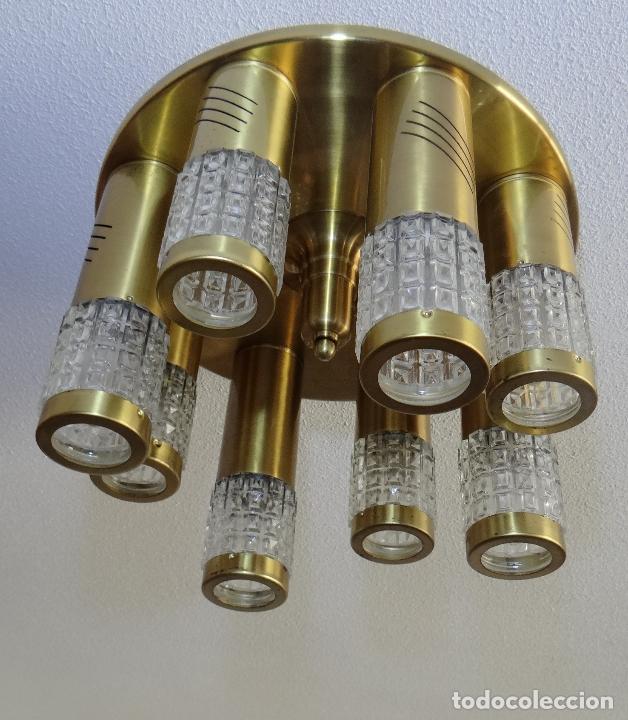 Vintage: LAMPARA TECHO VINTAGE. DISEÑO ITALIANO. AÑOS 1960 - 70. METAL DORADO. - Foto 6 - 103235455