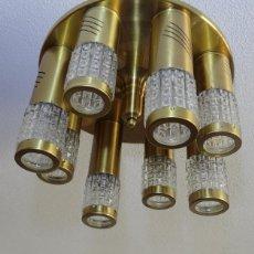 Vintage: LAMPARA TECHO VINTAGE. DISEÑO ITALIANO. AÑOS 1960 - 70. METAL DORADO.. Lote 103235455