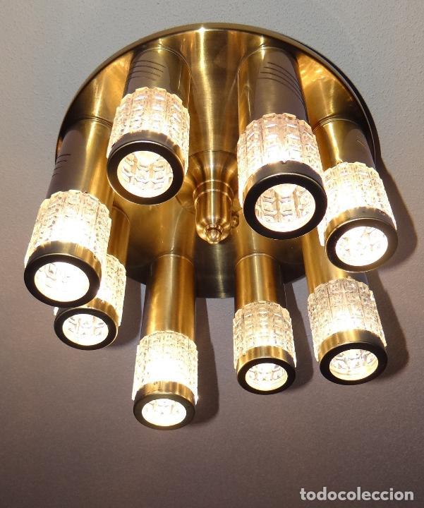 LAMPARA TECHO VINTAGE. DISEÑO ITALIANO. AÑOS 1960 - 70. METAL DORADO. (Vintage - Lámparas, Apliques, Candelabros y Faroles)