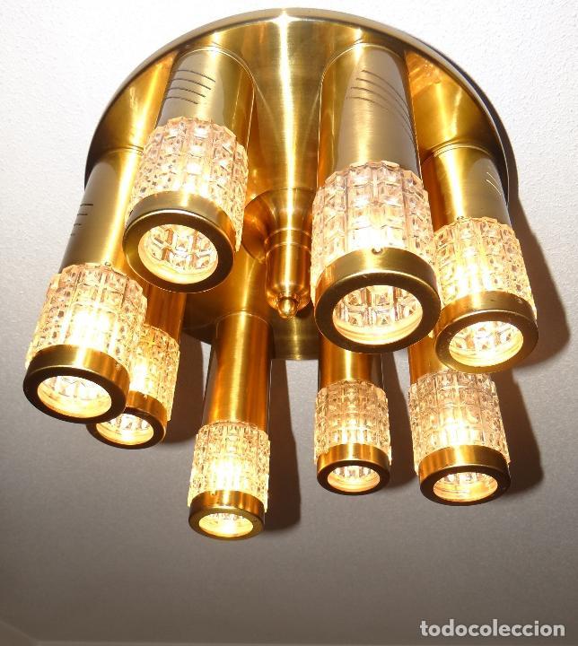 Vintage: LAMPARA TECHO VINTAGE. DISEÑO ITALIANO. AÑOS 1960 - 70. METAL DORADO. - Foto 3 - 103235455