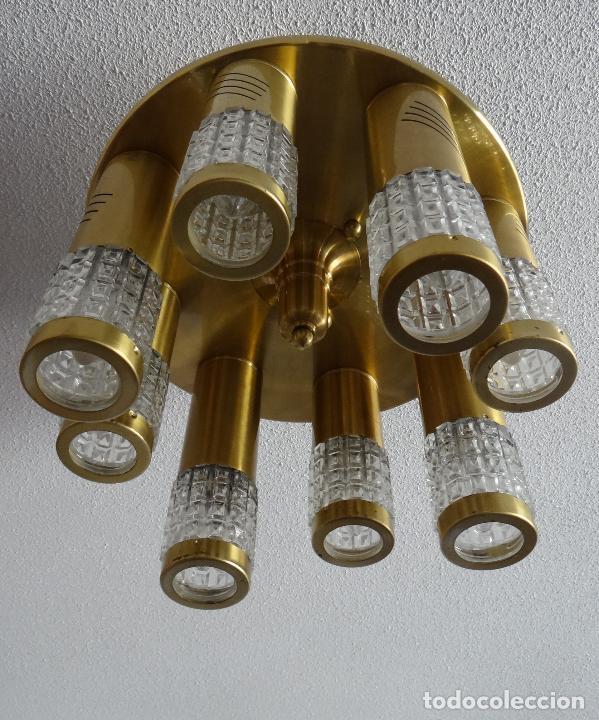Vintage: LAMPARA TECHO VINTAGE. DISEÑO ITALIANO. AÑOS 1960 - 70. METAL DORADO. - Foto 4 - 103235455