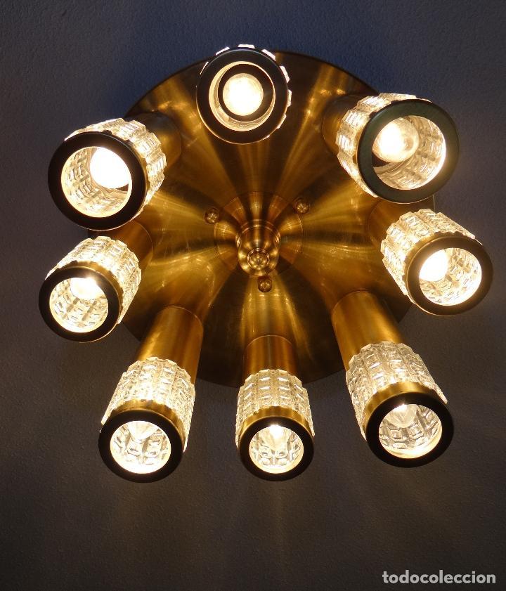 Vintage: LAMPARA TECHO VINTAGE. DISEÑO ITALIANO. AÑOS 1960 - 70. METAL DORADO. - Foto 5 - 103235455
