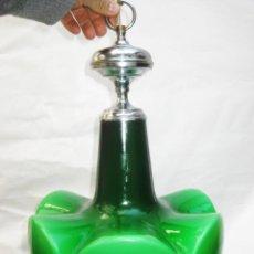 Vintage: LAMPARA VINTAGE SPACE AGE PLATA Y CRISTAL VERDE OPALINA RESTAURADA LISTA USO. Lote 103316115