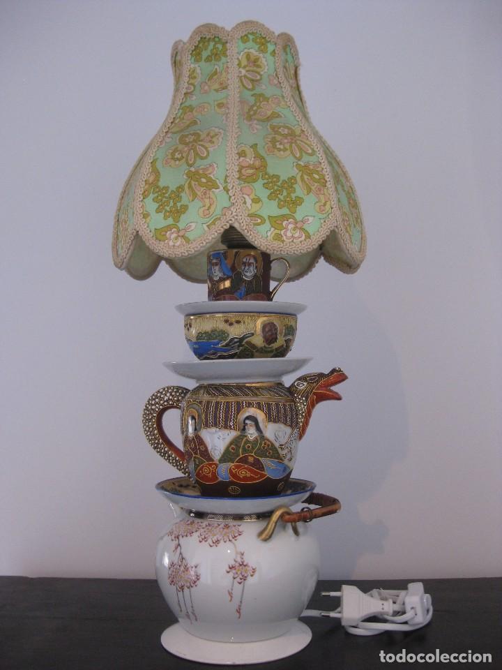 PRECIOSA LAMPARA DE SOBREMESA DE ANTIGUAS PIEZAS DE PORCELANA CHINA Y JAPONESA (Vintage - Lámparas, Apliques, Candelabros y Faroles)