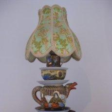 Vintage: PRECIOSA LAMPARA DE SOBREMESA DE ANTIGUAS PIEZAS DE PORCELANA CHINA Y JAPONESA. Lote 103421335