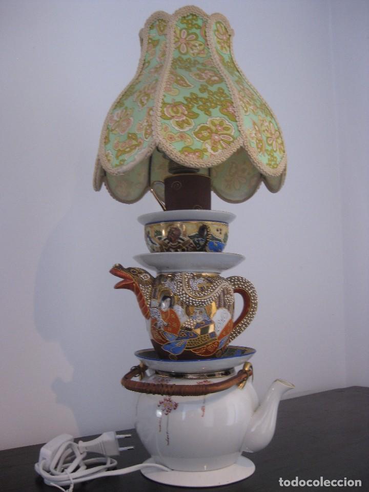 Vintage: Preciosa lampara de sobremesa de antiguas piezas de porcelana china y japonesa - Foto 2 - 103421335