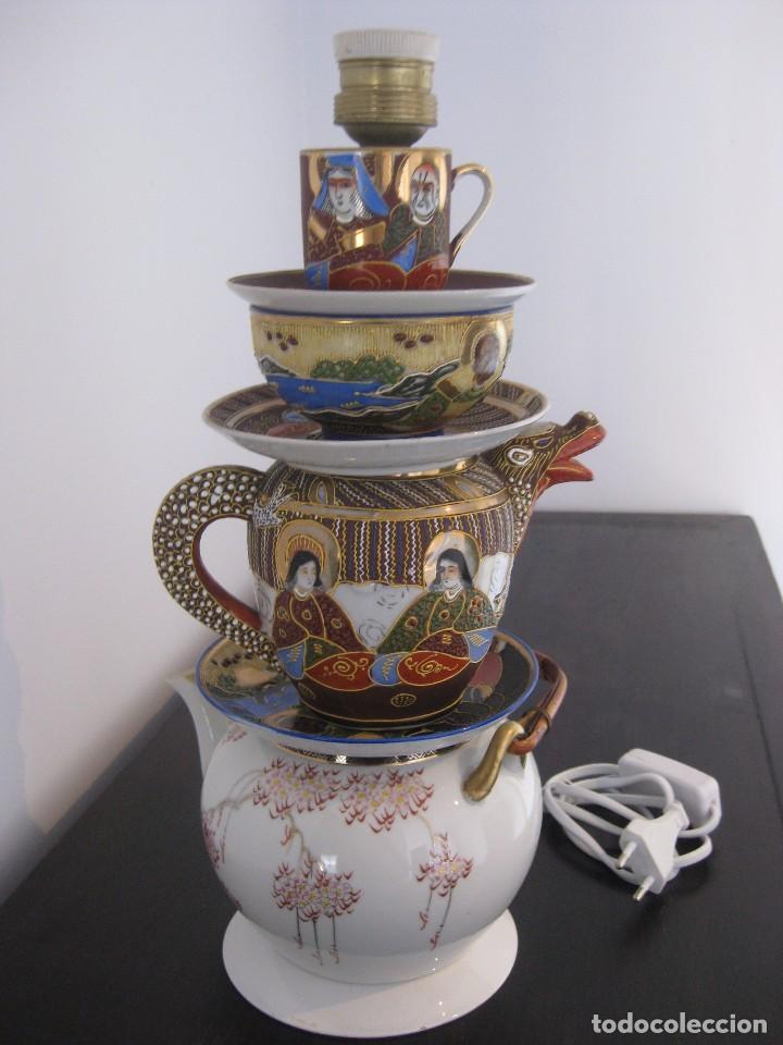 Vintage: Preciosa lampara de sobremesa de antiguas piezas de porcelana china y japonesa - Foto 3 - 103421335