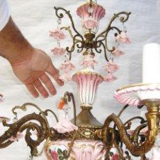 Vintage: SUPER LAMPARA ANTIGUA EN BRONCE, CERAMICA ROSA Y ORO DE MANISES , PERFECTA!. Lote 103535931