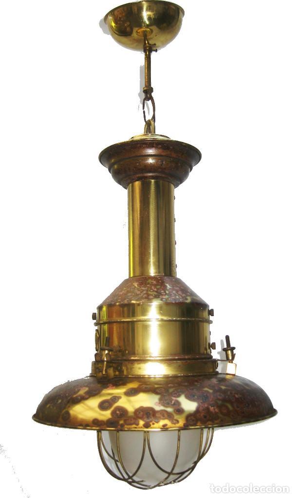 Vintage: LAMPARA VINTAGE EN LATON DORADO Y CRISTAL NAUTICA MUY DECORATIVA - Foto 2 - 103879107