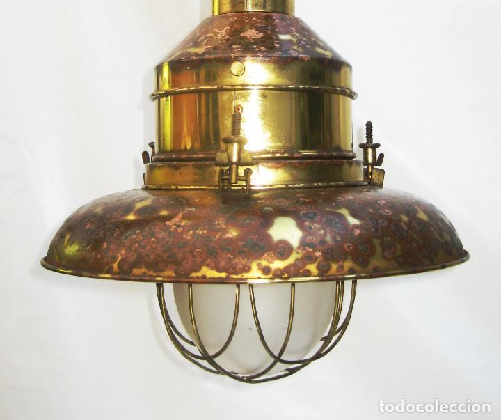 Vintage: LAMPARA VINTAGE EN LATON DORADO Y CRISTAL NAUTICA MUY DECORATIVA - Foto 3 - 103879107