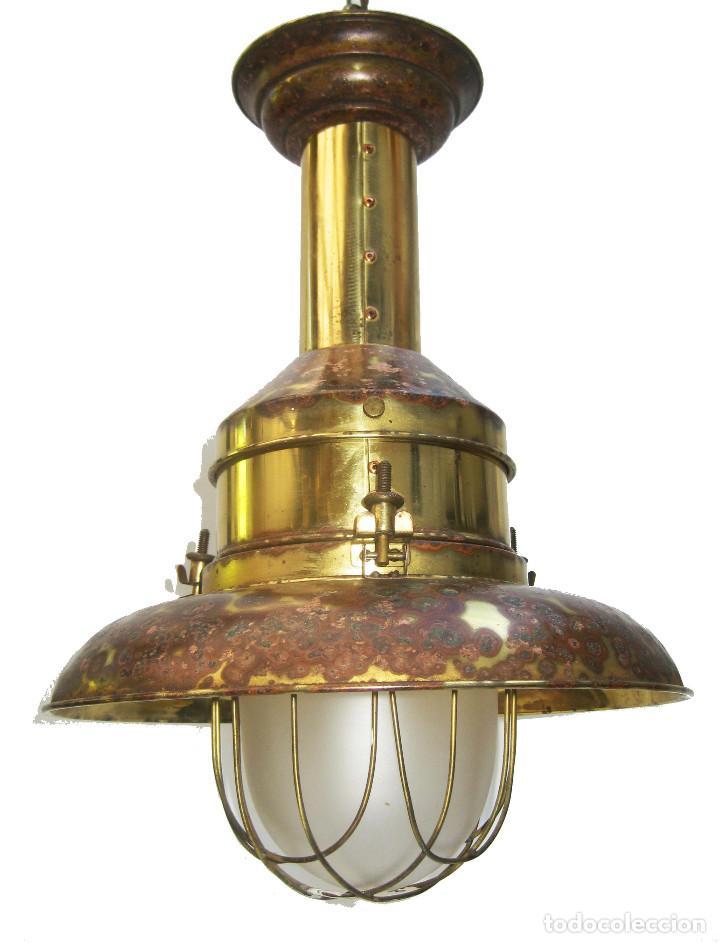 Vintage: LAMPARA VINTAGE EN LATON DORADO Y CRISTAL NAUTICA MUY DECORATIVA - Foto 4 - 103879107