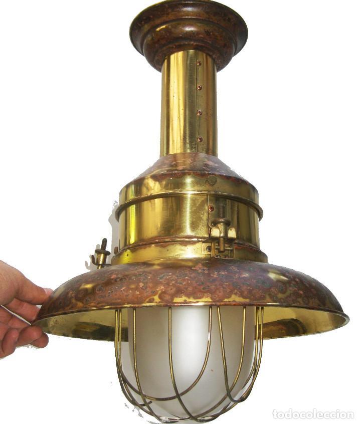 Vintage: LAMPARA VINTAGE EN LATON DORADO Y CRISTAL NAUTICA MUY DECORATIVA - Foto 5 - 103879107