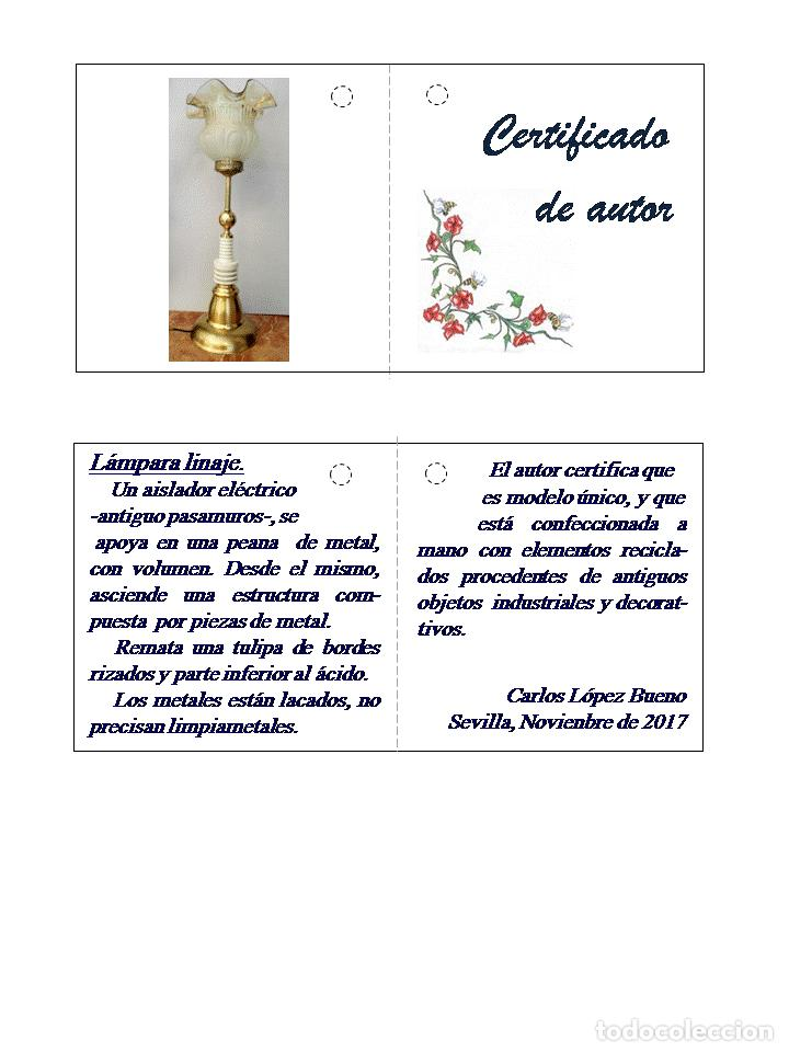 Vintage: REGALO ESPECIAL. Lámpara de autor LINAJE - Foto 5 - 103979803