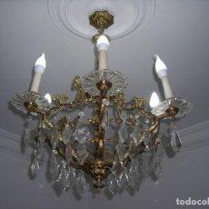 Vintage: LAMPARA TIPO ARAÑA DE BRONCE MACIZO (DORADO) Y LAGRIMAS DE CRISTAL. 6 BRAZOS Y 6 PUNTOS DE LUZ.. Lote 104179691