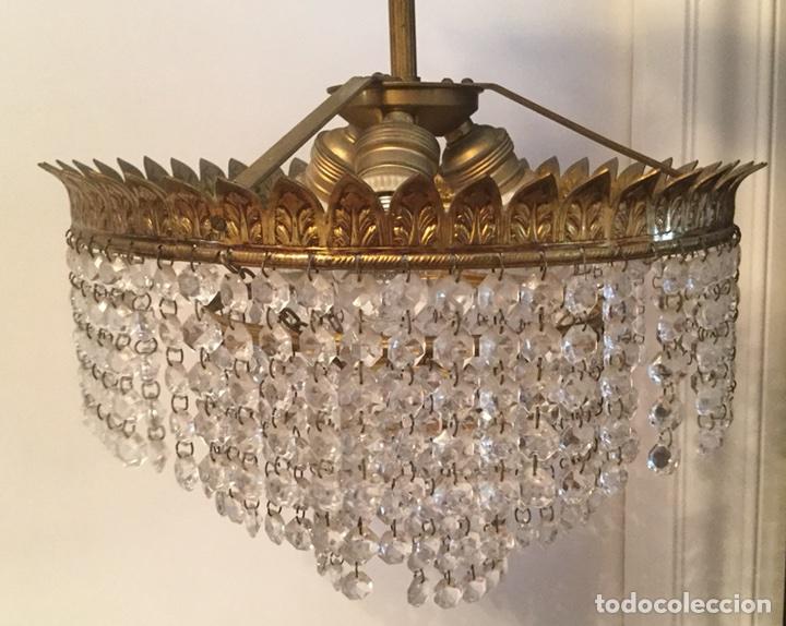 LAMPARA DE TECHO VINTAGE DE METAL DORADO Y CRISTALES (Vintage - Lámparas, Apliques, Candelabros y Faroles)