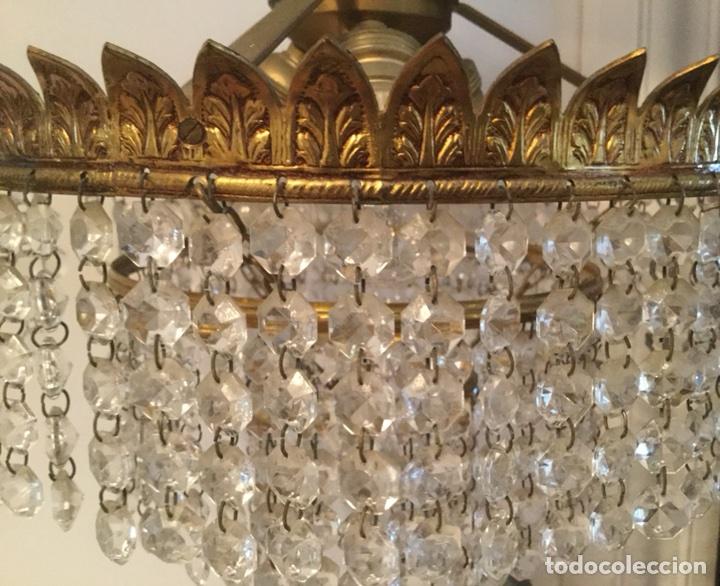 Vintage: LAMPARA DE TECHO VINTAGE DE METAL DORADO Y CRISTALES - Foto 3 - 105657812