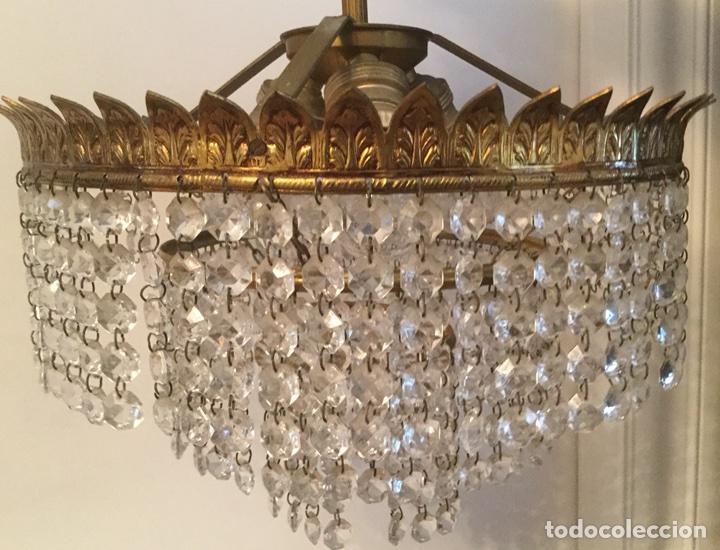 Vintage: LAMPARA DE TECHO VINTAGE DE METAL DORADO Y CRISTALES - Foto 5 - 105657812