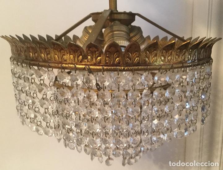 Vintage: LAMPARA DE TECHO VINTAGE DE METAL DORADO Y CRISTALES - Foto 6 - 105657812