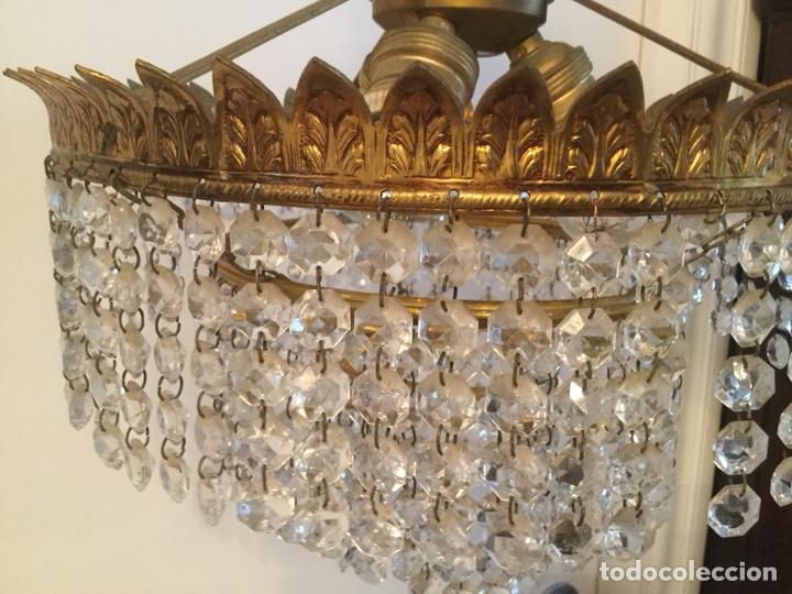 Vintage: LAMPARA DE TECHO VINTAGE DE METAL DORADO Y CRISTALES - Foto 7 - 105657812