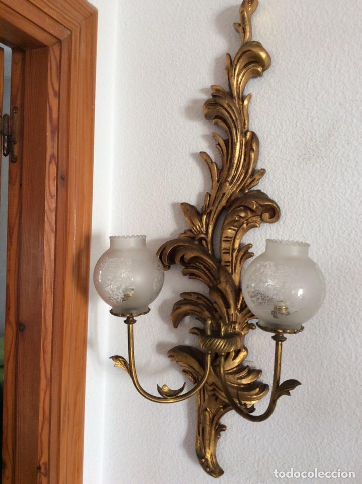pareja de lamparas de pale vintage de madera or - Comprar Lámparas ...