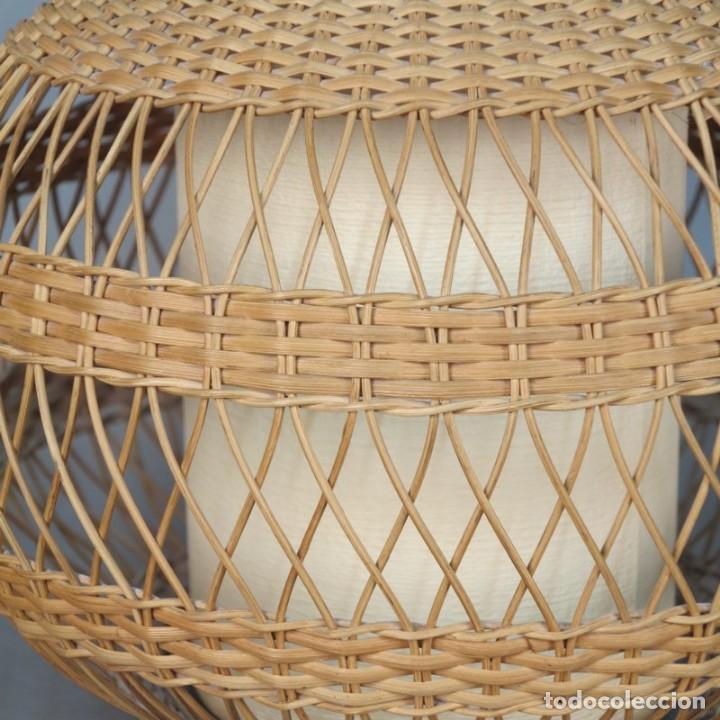 Vintage: Lampara vintage de mimbre. 1960 - 1970 - Foto 3 - 106633003