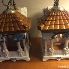 Vintage: LOTE DOS LAMPARAS DE CERAMICA PARA DECORACION. Lote 106767975