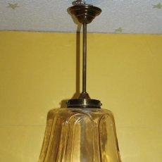 Vintage: ANTIGUA LAMPARA DE CRISTAL COLOR CARAMELO - AÑOS 60. Lote 107856791