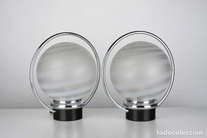 2 LAMPARA SOBREMESA METAL CROMADO NEGRO VINTAGE RETRO SPACE AGE AÑOS 70 (Vintage - Lámparas, Apliques, Candelabros y Faroles)