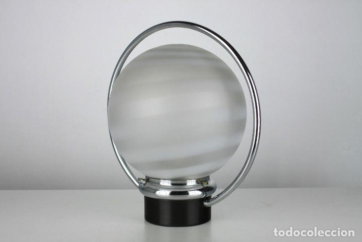 Vintage: 2 lampara sobremesa metal cromado negro vintage retro space age años 70 - Foto 2 - 108804047
