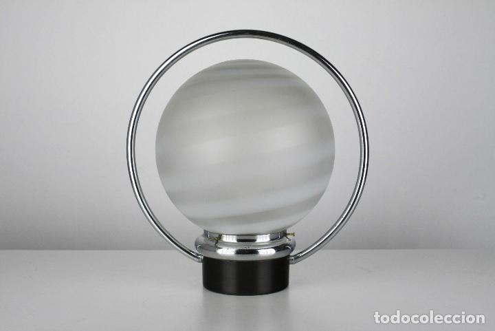 Vintage: 2 lampara sobremesa metal cromado negro vintage retro space age años 70 - Foto 5 - 108804047