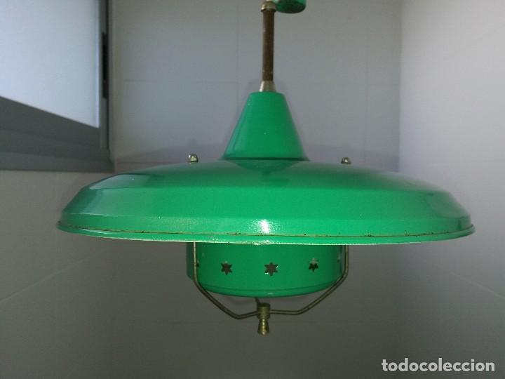 verde polea y los con de Antigua lámpara 40 años esmaltada blanco vintage y contrapeso en tsdhQCrx