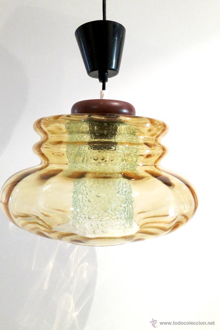 Vintage: Lámpara vintage vidrio soplado años 70 Carl Fagerlund (?) Orrefors doble tulipa Alemania - Foto 2 - 45435586