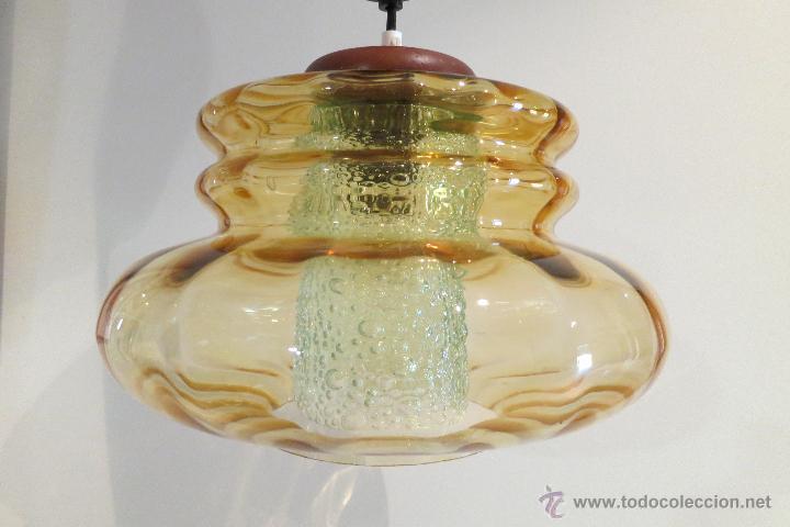 Vintage: Lámpara vintage vidrio soplado años 70 Carl Fagerlund (?) Orrefors doble tulipa Alemania - Foto 3 - 45435586