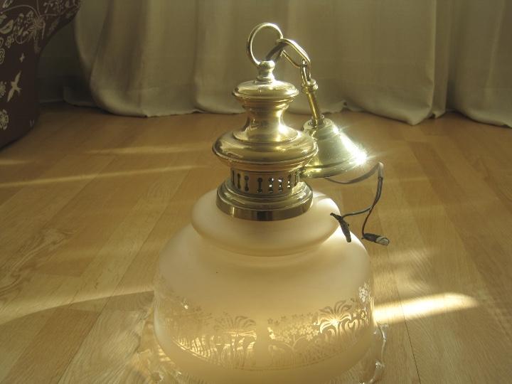 Vintage: LAMPARA TECHO BRONCE Y TULIPA CRISTAL VINTAGE-- 50 cm altura--30 diámetro - Foto 9 - 61256455