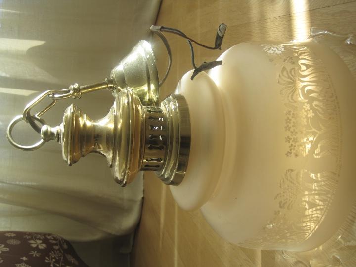 Vintage: LAMPARA TECHO BRONCE Y TULIPA CRISTAL VINTAGE-- 50 cm altura--30 diámetro - Foto 10 - 61256455