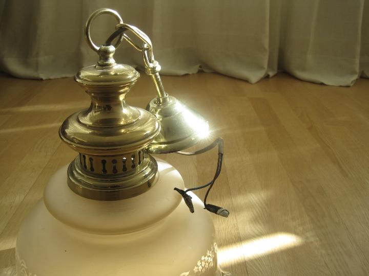 Vintage: LAMPARA TECHO BRONCE Y TULIPA CRISTAL VINTAGE-- 50 cm altura--30 diámetro - Foto 16 - 61256455