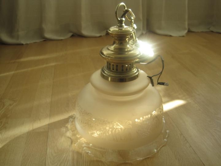 Vintage: LAMPARA TECHO BRONCE Y TULIPA CRISTAL VINTAGE-- 50 cm altura--30 diámetro - Foto 17 - 61256455