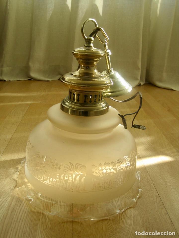 LAMPARA TECHO BRONCE Y TULIPA CRISTAL VINTAGE-- 50 CM ALTURA--30 DIÁMETRO (Vintage - Lámparas, Apliques, Candelabros y Faroles)