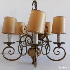 Vintage: LAMPARA TECHO - MADERA TALLADA - AÑOS 50. Lote 109387219
