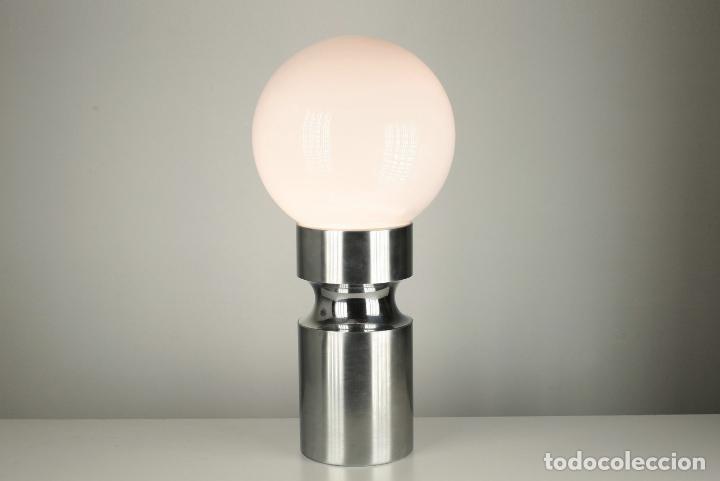 Vintage: lampara XL sobremesa pie metal cromado opalina retro space age España 70's - Foto 2 - 98389075