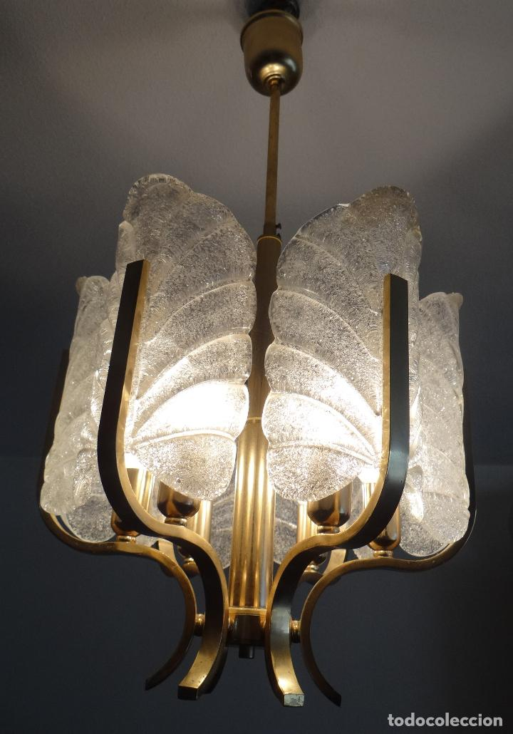 LAMPARA VINTAGE CARL FAGERLUND ORREFORS. SUECIA. CRISTAL RUGIADO MURANO BAROVIER. 1960 (Vintage - Lámparas, Apliques, Candelabros y Faroles)