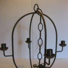 Vintage: LAMPARA DE HIERRO VINTAGE PARA VELAS. Lote 110847655