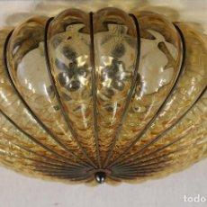 Vintage: LAMPARA DE TECHO CON TULIPA DE CRISTAL COLOR AMBAR. Lote 111313627