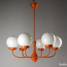 Vintage: LAMPARA TECHO CHANDELIER NARANJA GLOBO OPALINA RETRO SPACE AGE VINTAGE AÑOS 70. Lote 111587159