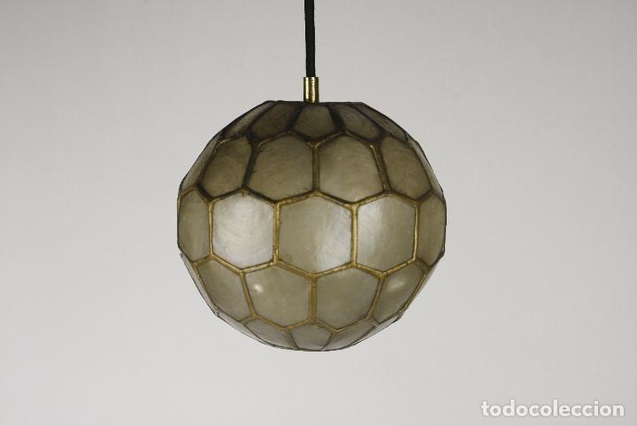 Vintage: 2 lampara techo nacar laton vintage retro años 60 - Foto 2 - 111591731
