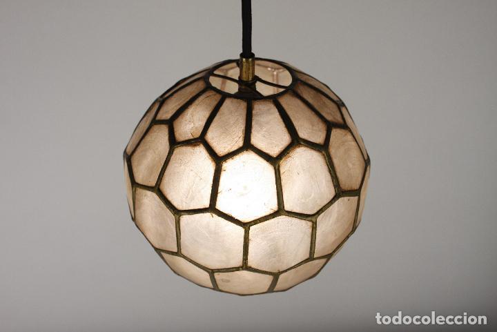 Vintage: 2 lampara techo nacar laton vintage retro años 60 - Foto 3 - 111591731