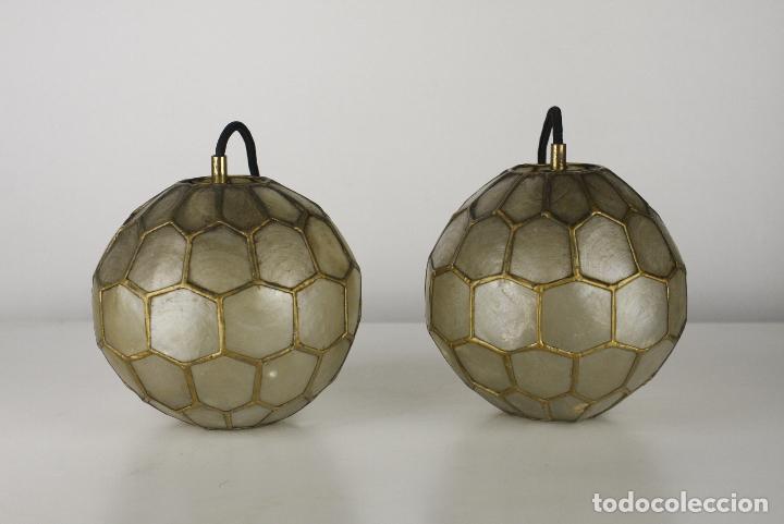 Vintage: 2 lampara techo nacar laton vintage retro años 60 - Foto 6 - 111591731