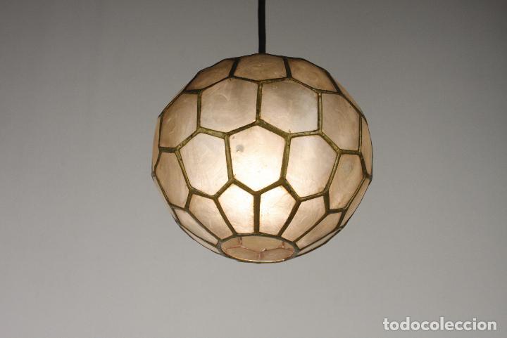Vintage: 2 lampara techo nacar laton vintage retro años 60 - Foto 7 - 111591731