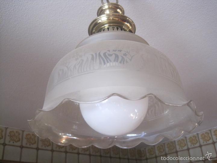 Vintage: LAMPARA TECHO BRONCE Y TULIPA CRISTAL VINTAGE-- 50 cm altura--30 diámetro - Foto 2 - 61256455